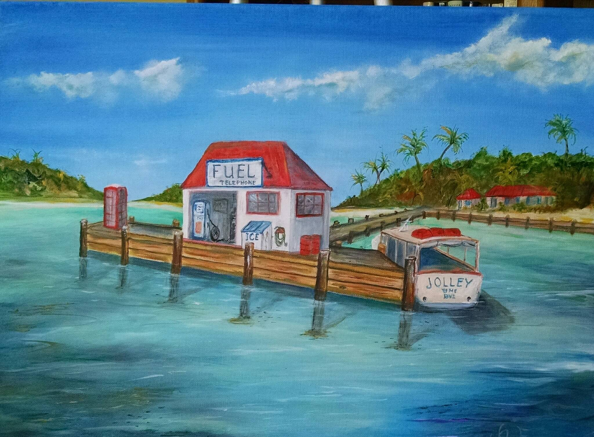 Wonderful Painting of The Marina Cay Red Box