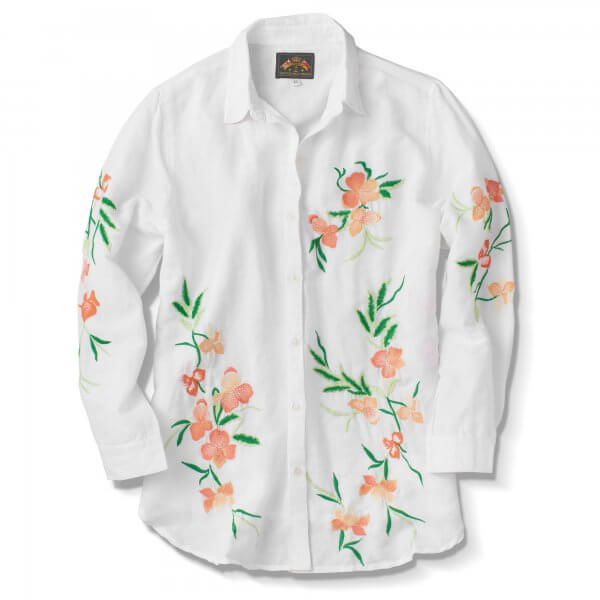 Shirt, Ls Floral Linen Cotton,White