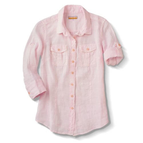 Shirt, Ls Linen Beach; Lt Blu,Lime,Pink,White