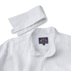 Tab Collar, White Linen  W/Blue Stripes