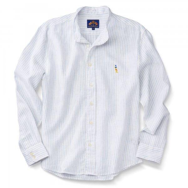 Tab Collar, White Linen  W/Blue Stripes