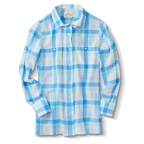 Shirt, Ls, Premium Voil, Ls; Green Check, Blu Check