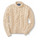 Pima Sweater, Giant Cable, White