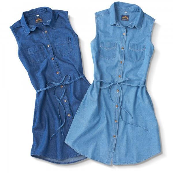 Denim Button Front, Dark And Light Blue