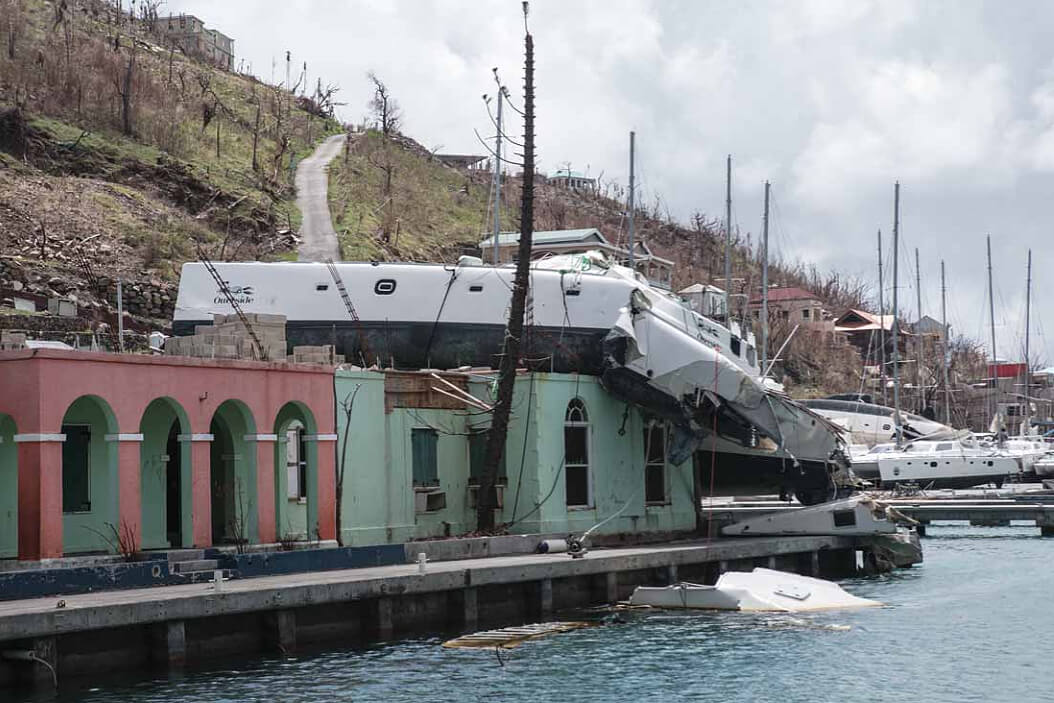 catamaran hurricane irma on the roof